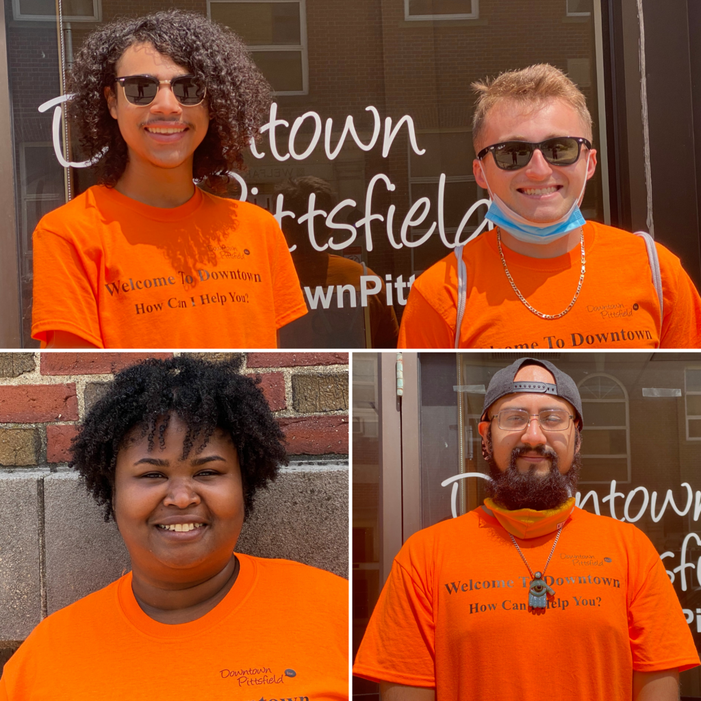 2021 Downtown Pittsfield Ambassadors clockwise (starting at top left): Melvin Wright, Kyle Hopkins, Kevin Hernandez Vasquez, and Amarie Starr. The ambassadors focus on community wayfinding: helping visitors and residents to find parking, things to do, and places to eat and shop, as well as providing information about the parklets and new layout downtown as part of the Shared Streets & Spaces program.