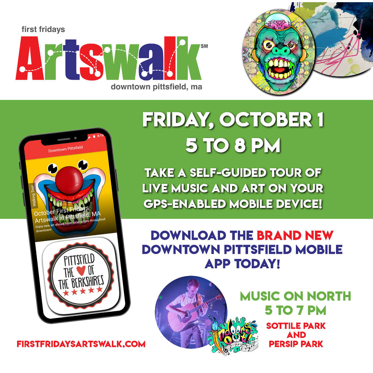 October First Fridays Artswalk and Music on North, Pittsfield MA